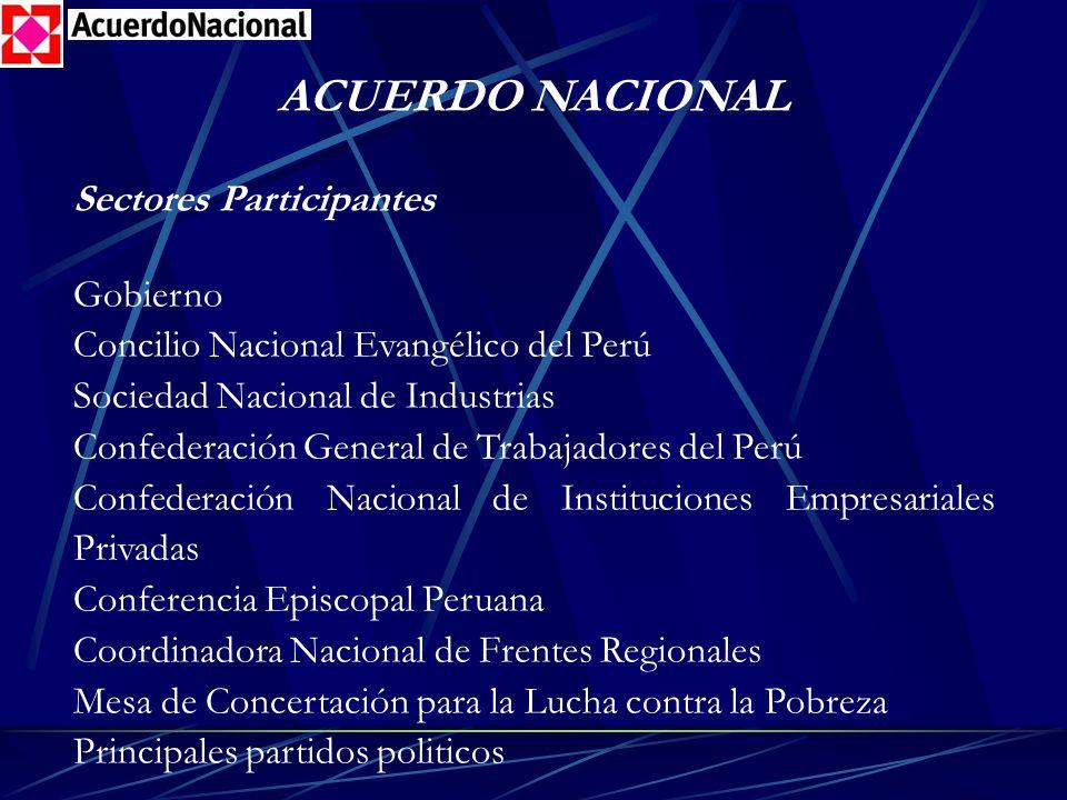 ACUERDO NACIONAL Sectores Participantes Gobierno