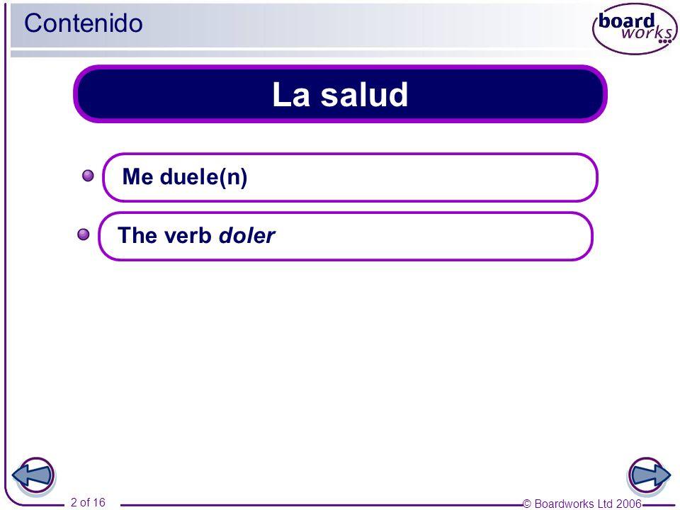 Contenido La salud Me duele(n) The verb doler