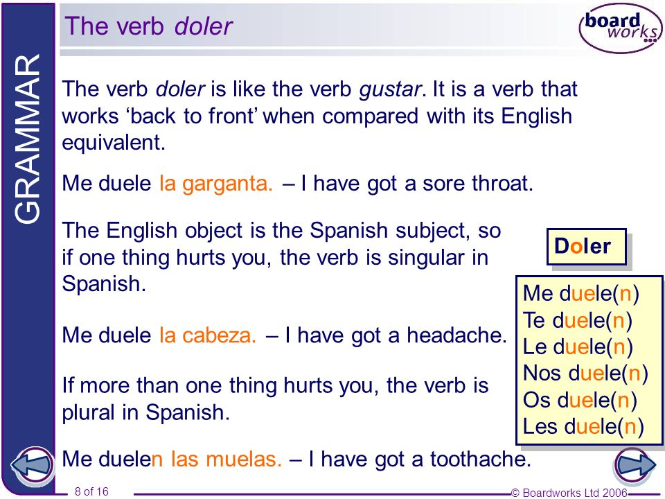 The verb dolerThe verb doler is like the verb gustar. It is a verb that works 'back to front' when compared with its English equivalent.