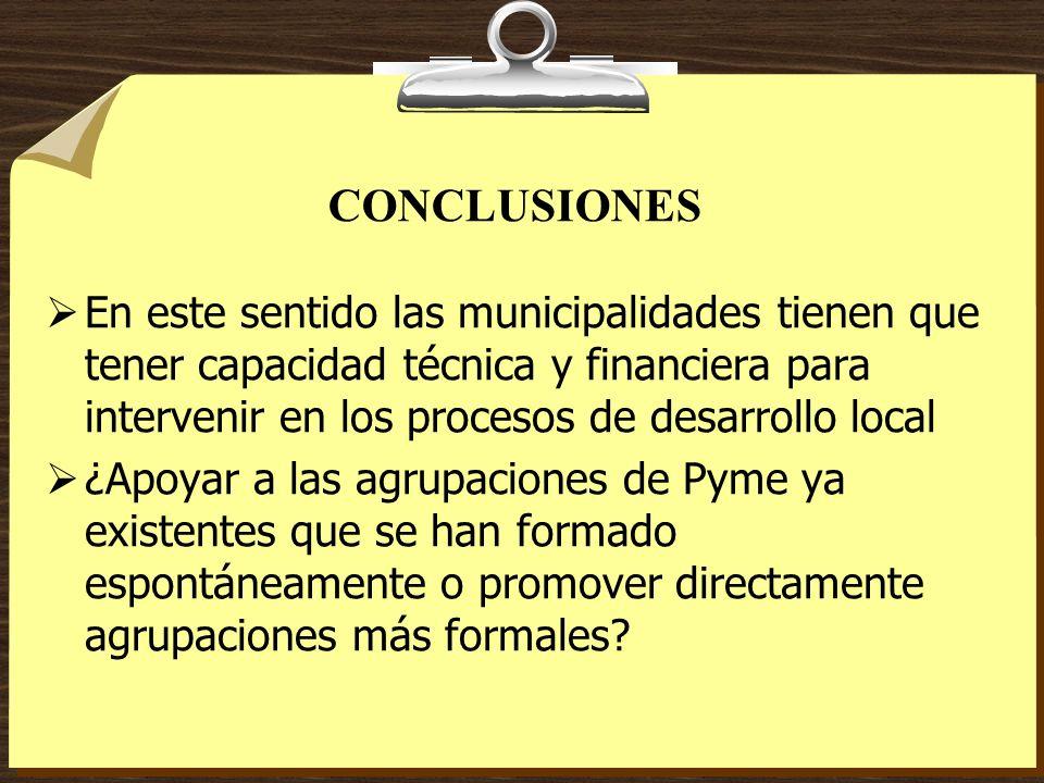 CONCLUSIONES En este sentido las municipalidades tienen que tener capacidad técnica y financiera para intervenir en los procesos de desarrollo local.