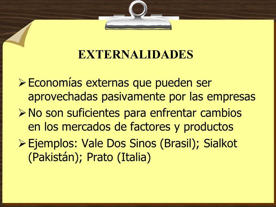 EXTERNALIDADES Economías externas que pueden ser aprovechadas pasivamente por las empresas.