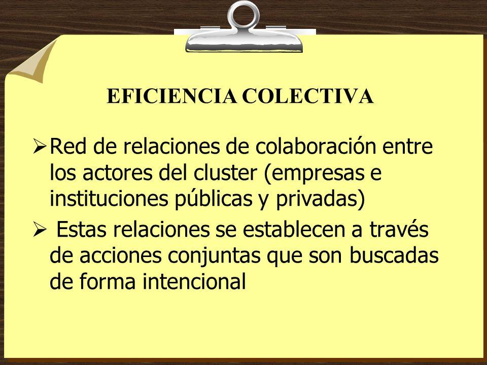 EFICIENCIA COLECTIVA Red de relaciones de colaboración entre los actores del cluster (empresas e instituciones públicas y privadas)