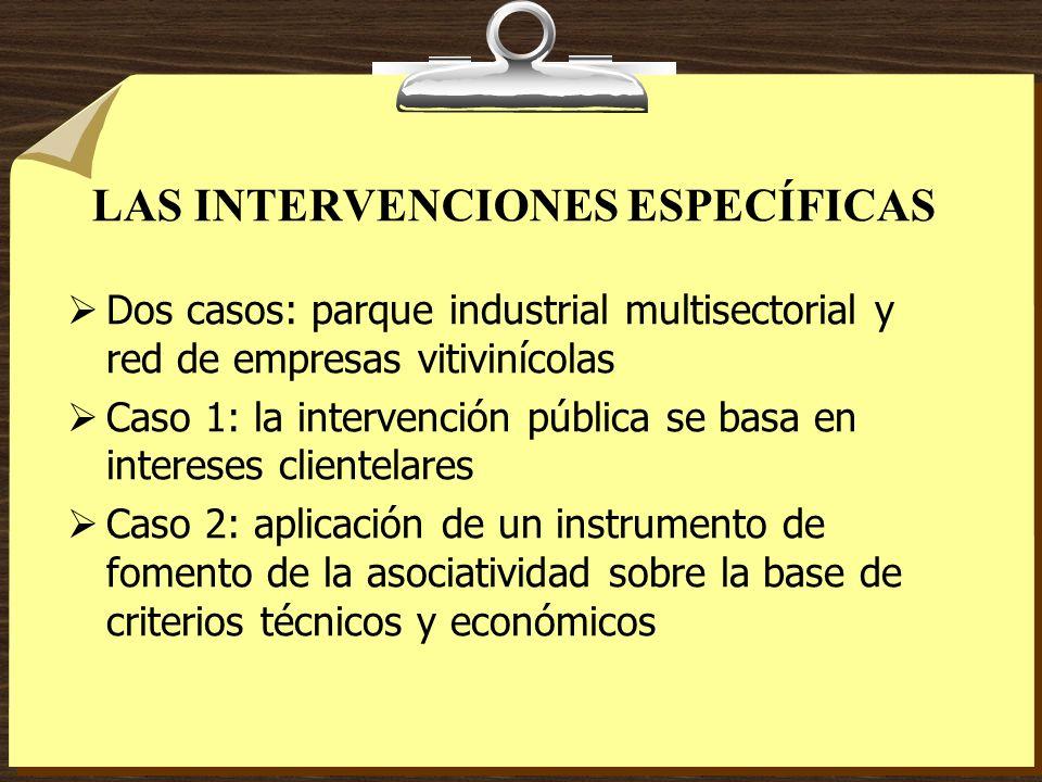 LAS INTERVENCIONES ESPECÍFICAS