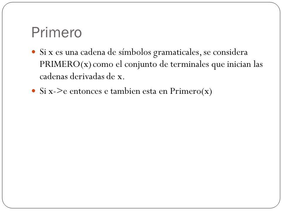 Primero Si x es una cadena de símbolos gramaticales, se considera PRIMERO(x) como el conjunto de terminales que inician las cadenas derivadas de x.