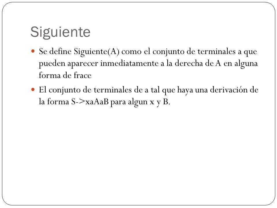 Siguiente Se define Siguiente(A) como el conjunto de terminales a que pueden aparecer inmediatamente a la derecha de A en alguna forma de frace.