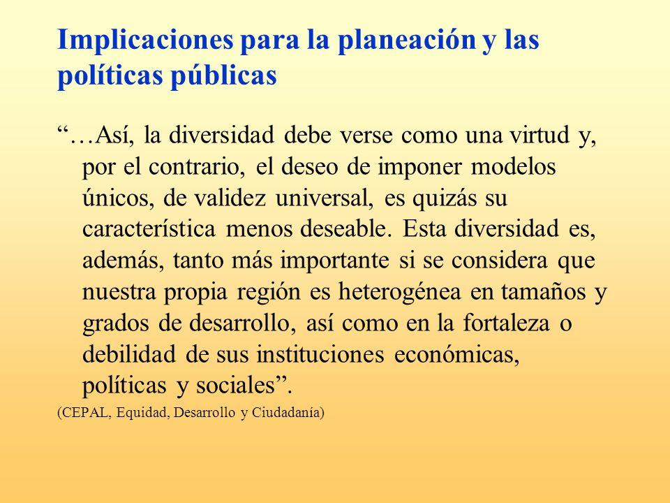 Implicaciones para la planeación y las políticas públicas