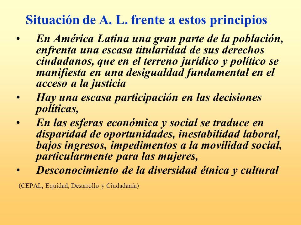 Situación de A. L. frente a estos principios