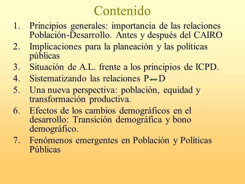 Contenido Principios generales: importancia de las relaciones Población-Desarrollo. Antes y después del CAIRO.