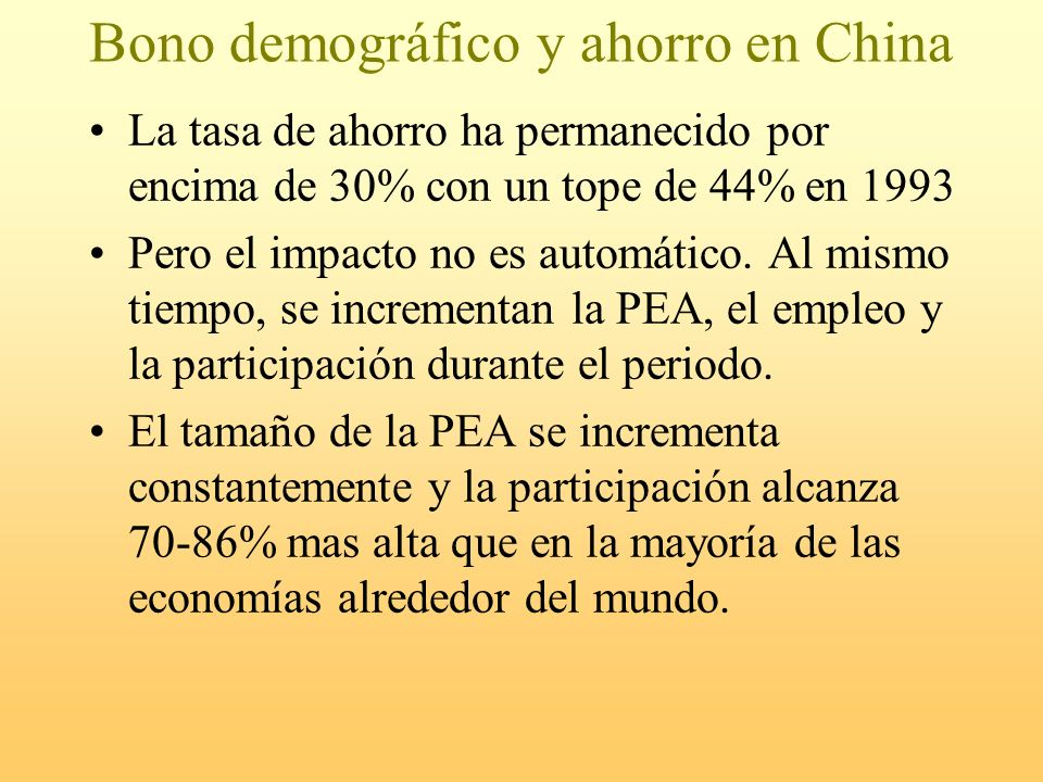 Bono demográfico y ahorro en China