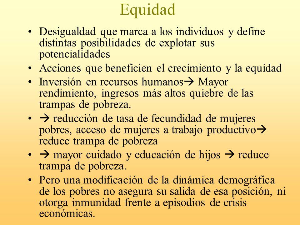 Equidad Desigualdad que marca a los individuos y define distintas posibilidades de explotar sus potencialidades.
