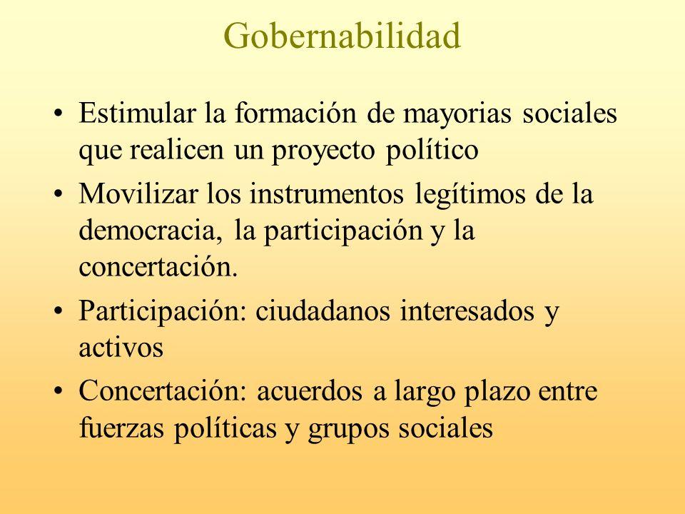 Gobernabilidad Estimular la formación de mayorias sociales que realicen un proyecto político.