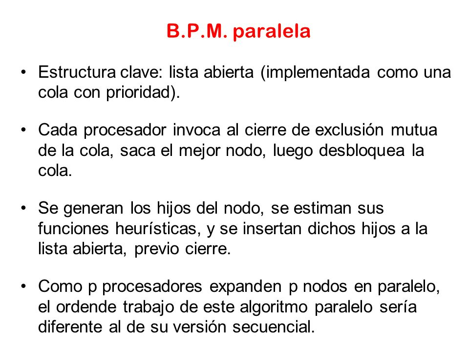 B.P.M. paralela Estructura clave: lista abierta (implementada como una cola con prioridad).