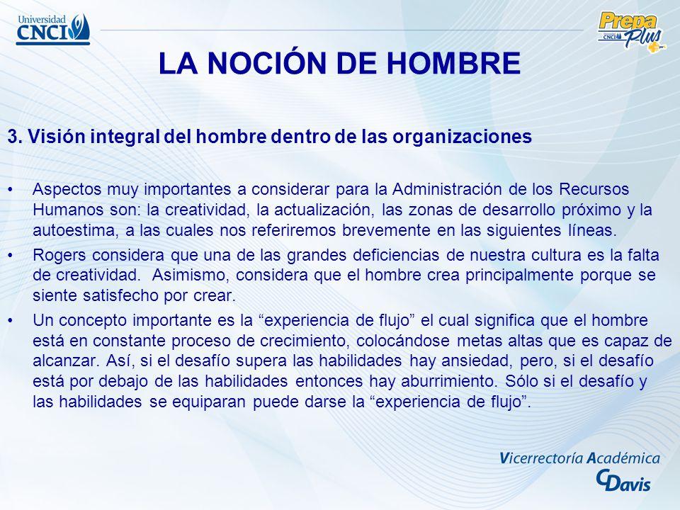 LA NOCIÓN DE HOMBRE 3. Visión integral del hombre dentro de las organizaciones.