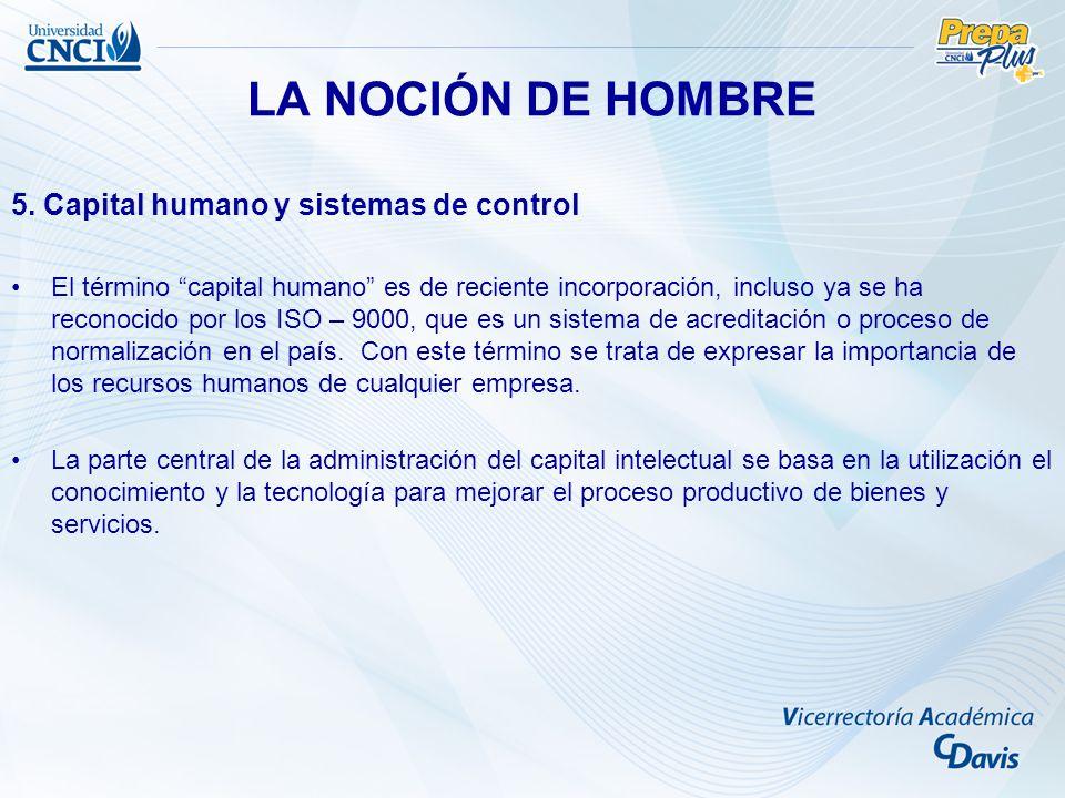 LA NOCIÓN DE HOMBRE 5. Capital humano y sistemas de control