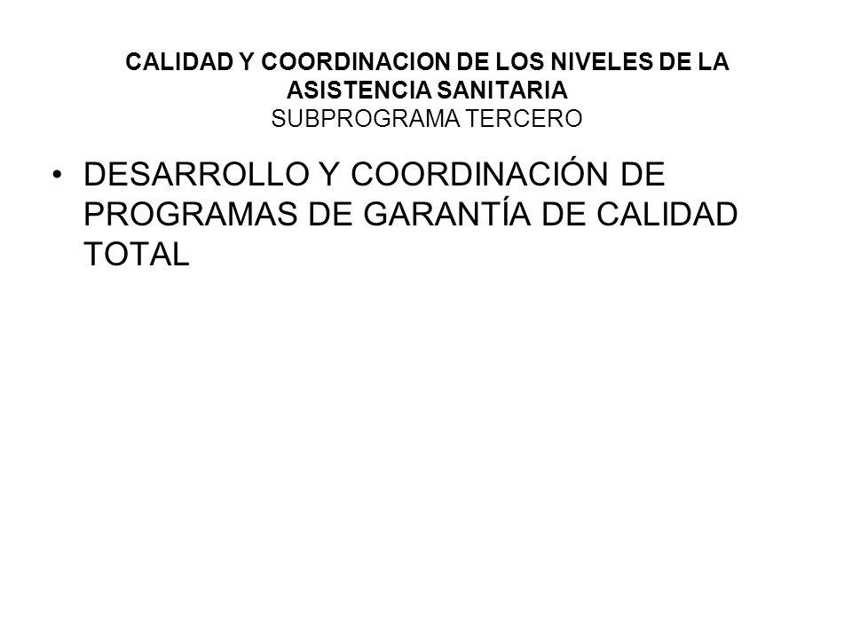 DESARROLLO Y COORDINACIÓN DE PROGRAMAS DE GARANTÍA DE CALIDAD TOTAL
