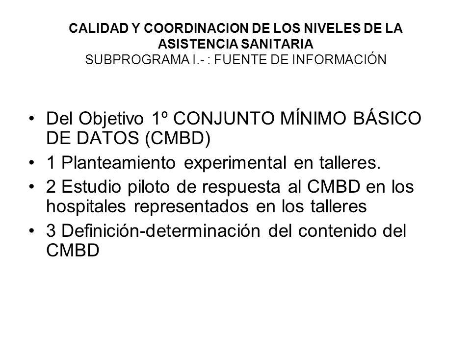 Del Objetivo 1º CONJUNTO MÍNIMO BÁSICO DE DATOS (CMBD)