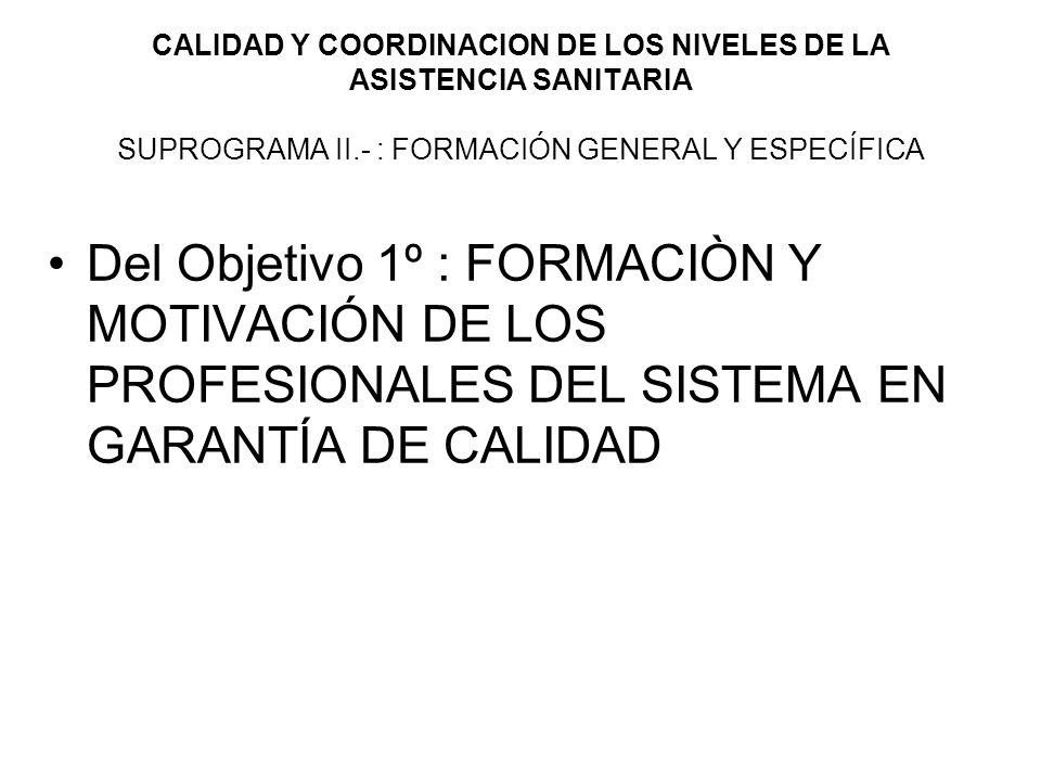 CALIDAD Y COORDINACION DE LOS NIVELES DE LA ASISTENCIA SANITARIA SUPROGRAMA II.- : FORMACIÓN GENERAL Y ESPECÍFICA