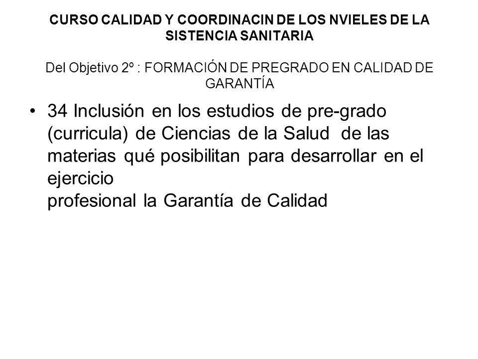 CURSO CALIDAD Y COORDINACIN DE LOS NVIELES DE LA SISTENCIA SANITARIA Del Objetivo 2º : FORMACIÓN DE PREGRADO EN CALIDAD DE GARANTÍA