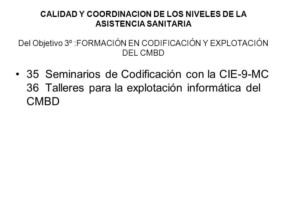 CALIDAD Y COORDINACION DE LOS NIVELES DE LA ASISTENCIA SANITARIA Del Objetivo 3º :FORMACIÓN EN CODIFICACIÓN Y EXPLOTACIÓN DEL CMBD