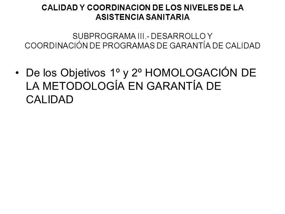 CALIDAD Y COORDINACION DE LOS NIVELES DE LA ASISTENCIA SANITARIA SUBPROGRAMA III.- DESARROLLO Y COORDINACIÓN DE PROGRAMAS DE GARANTÍA DE CALIDAD