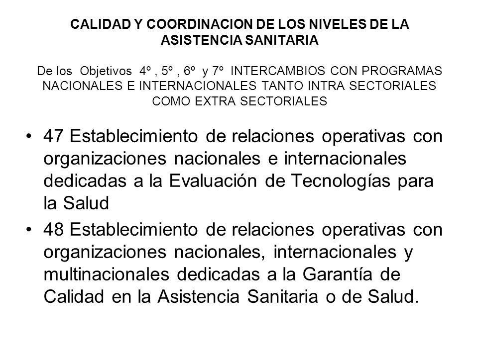 CALIDAD Y COORDINACION DE LOS NIVELES DE LA ASISTENCIA SANITARIA De los Objetivos 4º , 5º , 6º y 7º INTERCAMBIOS CON PROGRAMAS NACIONALES E INTERNACIONALES TANTO INTRA SECTORIALES COMO EXTRA SECTORIALES