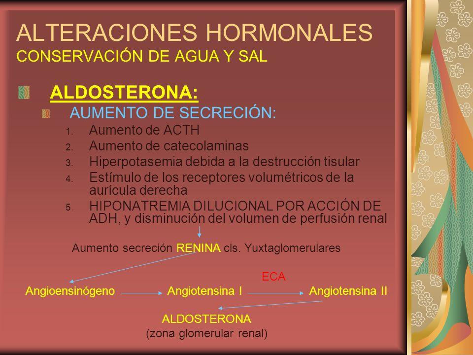 ALTERACIONES HORMONALES CONSERVACIÓN DE AGUA Y SAL