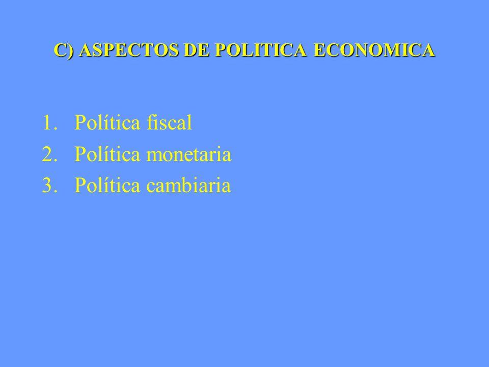 C) ASPECTOS DE POLITICA ECONOMICA