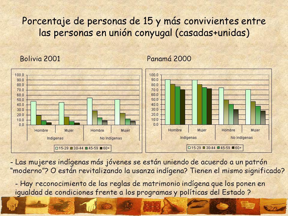 Porcentaje de personas de 15 y más convivientes entre las personas en unión conyugal (casadas+unidas)