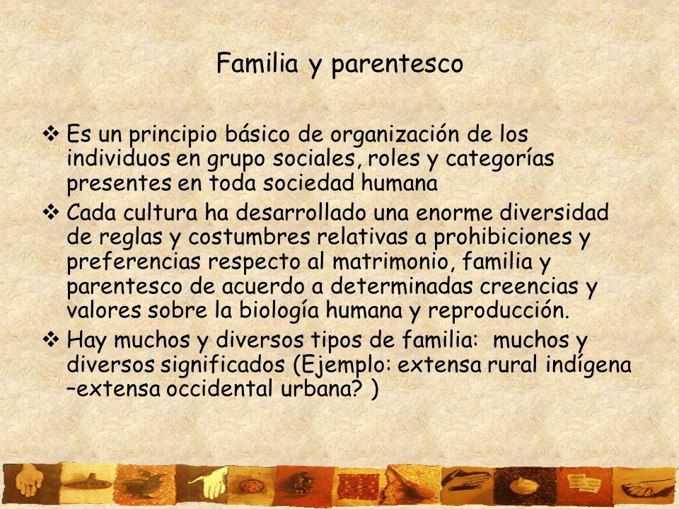 Familia y parentesco Es un principio básico de organización de los individuos en grupo sociales, roles y categorías presentes en toda sociedad humana.