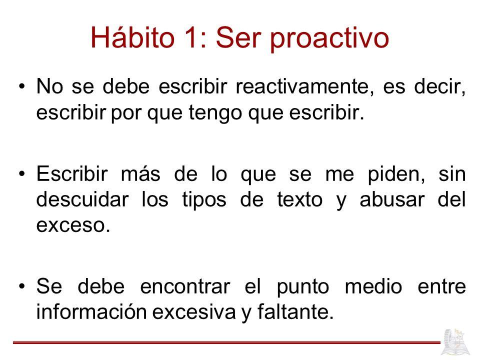 Hábito 1: Ser proactivo No se debe escribir reactivamente, es decir, escribir por que tengo que escribir.