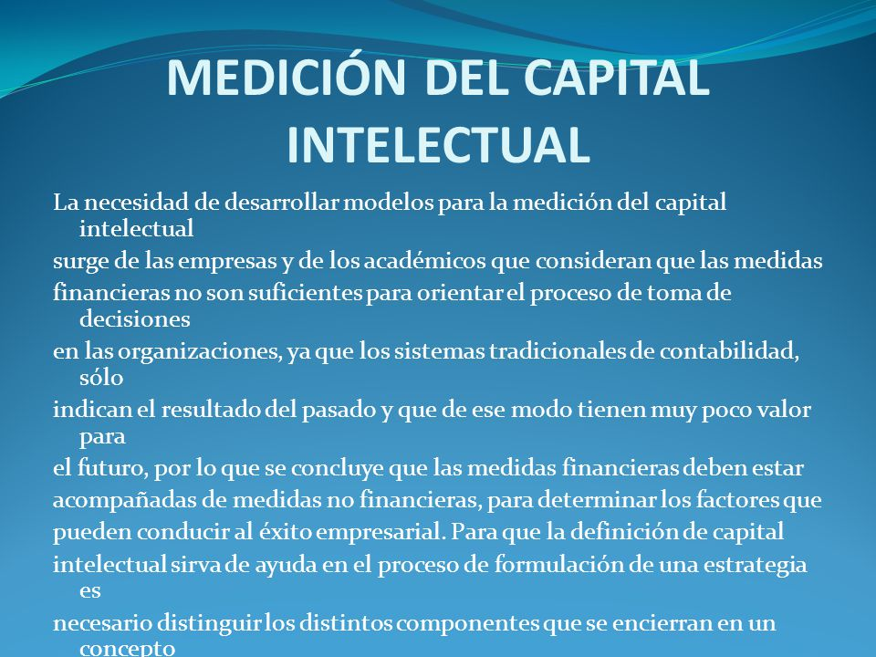 MEDICIÓN DEL CAPITAL INTELECTUAL