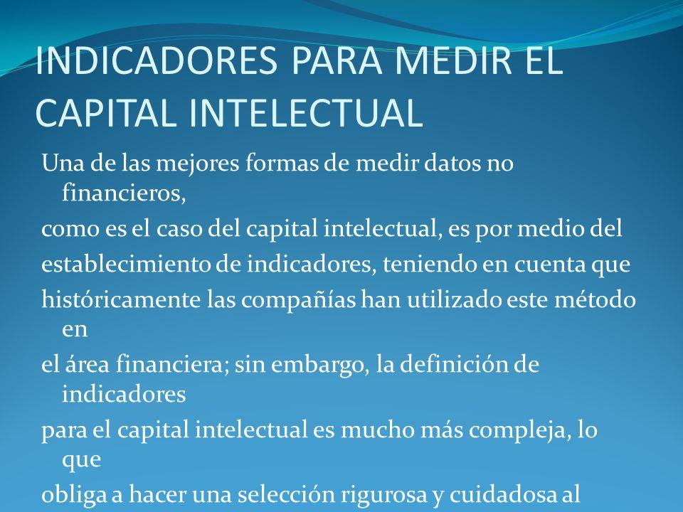 INDICADORES PARA MEDIR EL CAPITAL INTELECTUAL