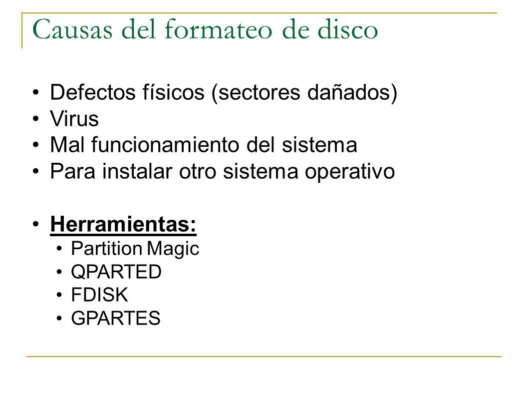 Causas del formateo de disco
