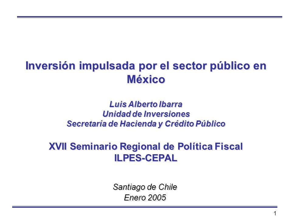 Inversión impulsada por el sector público en México Luis Alberto Ibarra Unidad de Inversiones Secretaría de Hacienda y Crédito Público XVII Seminario Regional de Política Fiscal ILPES-CEPAL