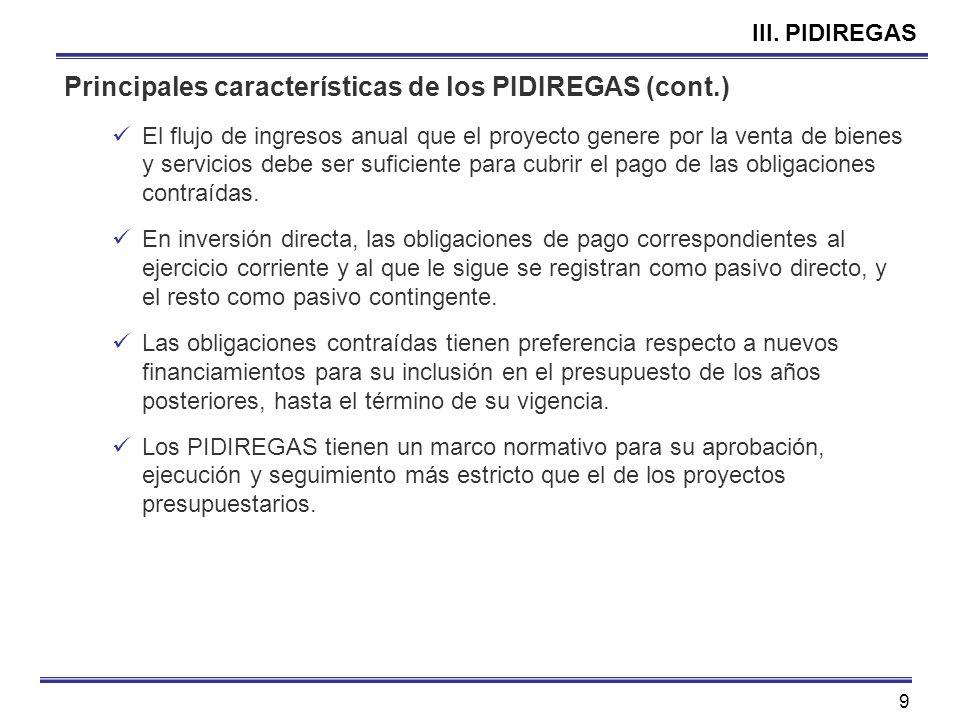 Principales características de los PIDIREGAS (cont.)