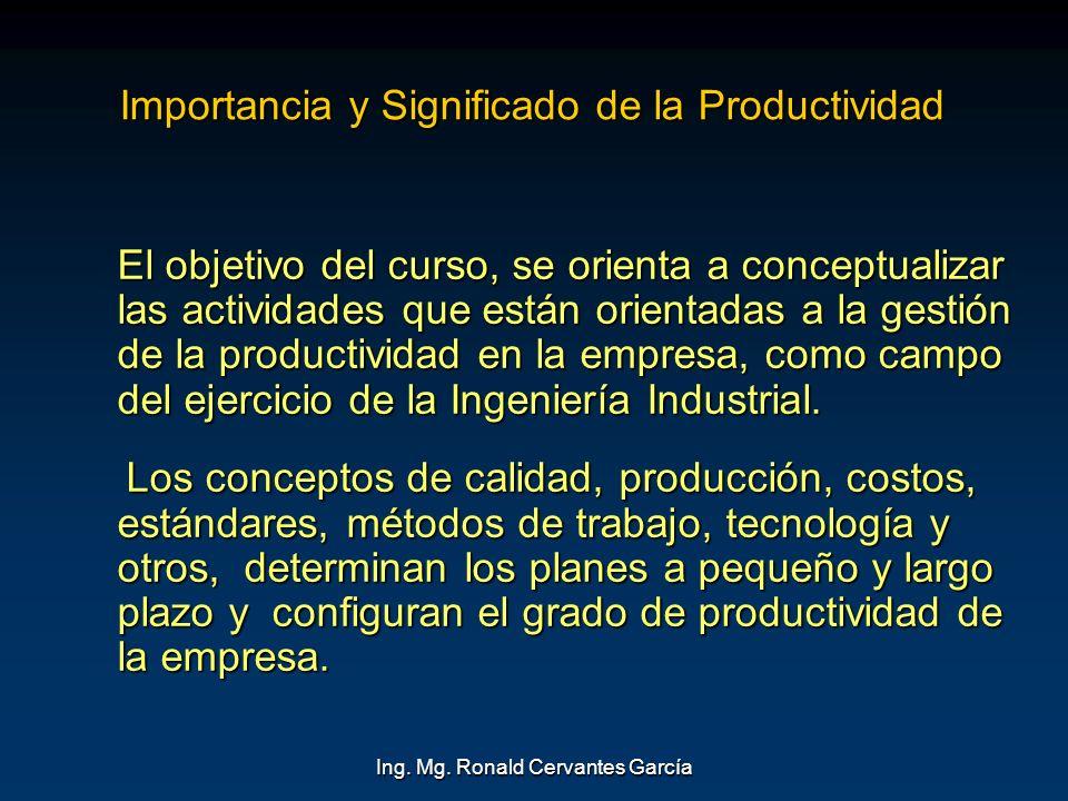 Importancia y Significado de la Productividad
