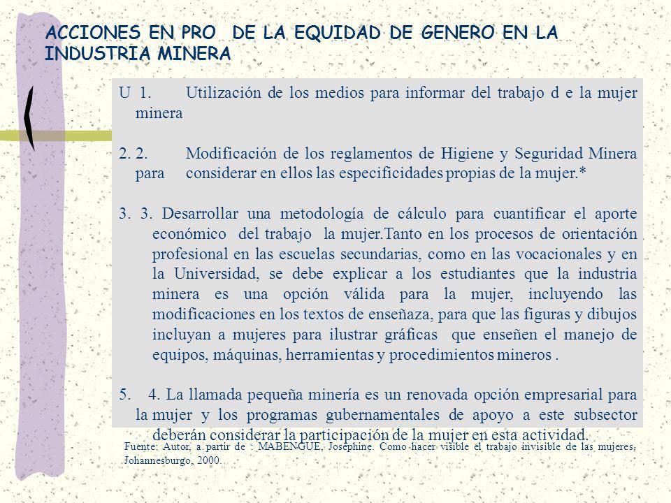 ACCIONES EN PRO DE LA EQUIDAD DE GENERO EN LA INDUSTRIA MINERA