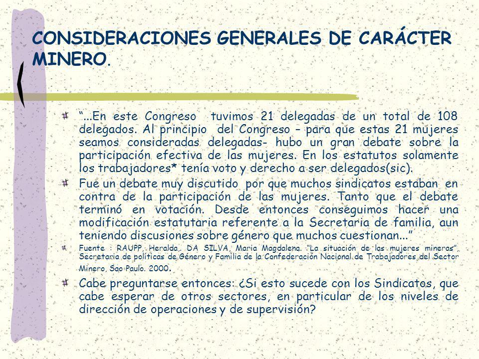 CONSIDERACIONES GENERALES DE CARÁCTER MINERO.