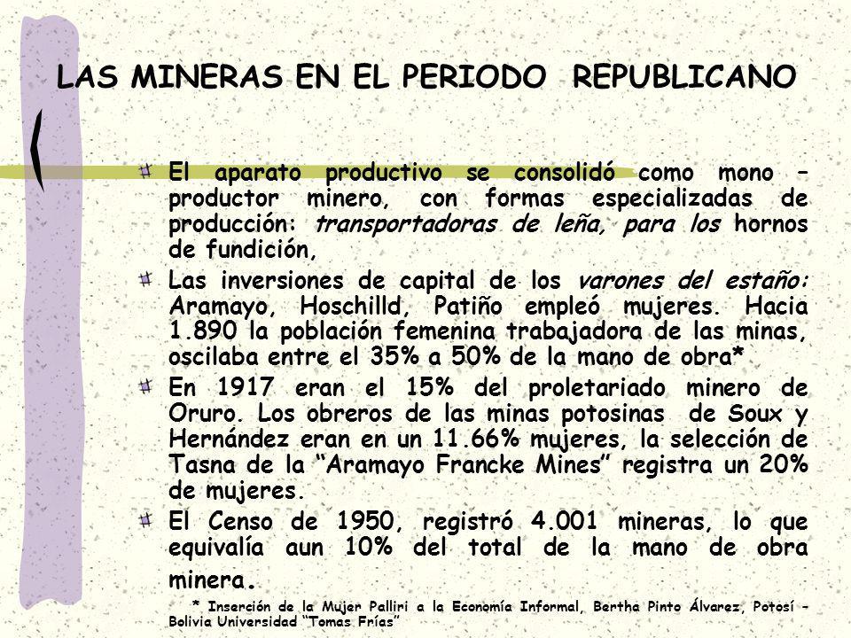 LAS MINERAS EN EL PERIODO REPUBLICANO