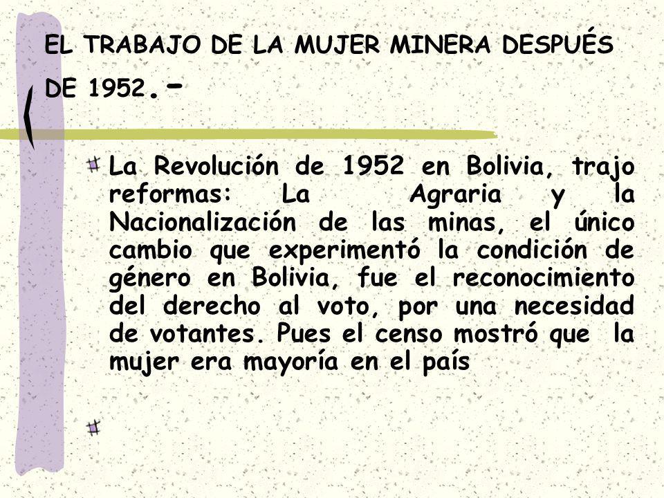 EL TRABAJO DE LA MUJER MINERA DESPUÉS DE 1952.-