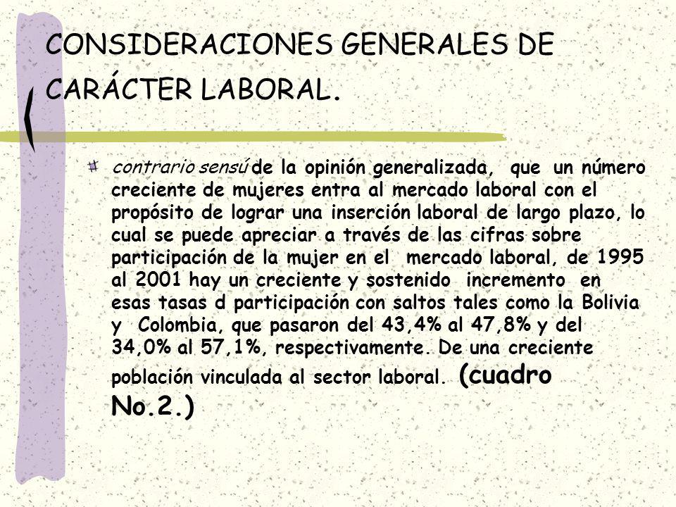 CONSIDERACIONES GENERALES DE CARÁCTER LABORAL.
