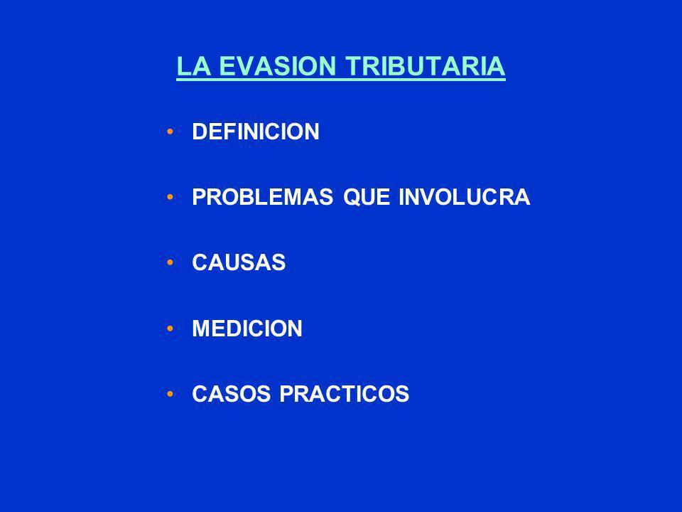 LA EVASION TRIBUTARIA DEFINICION PROBLEMAS QUE INVOLUCRA CAUSAS