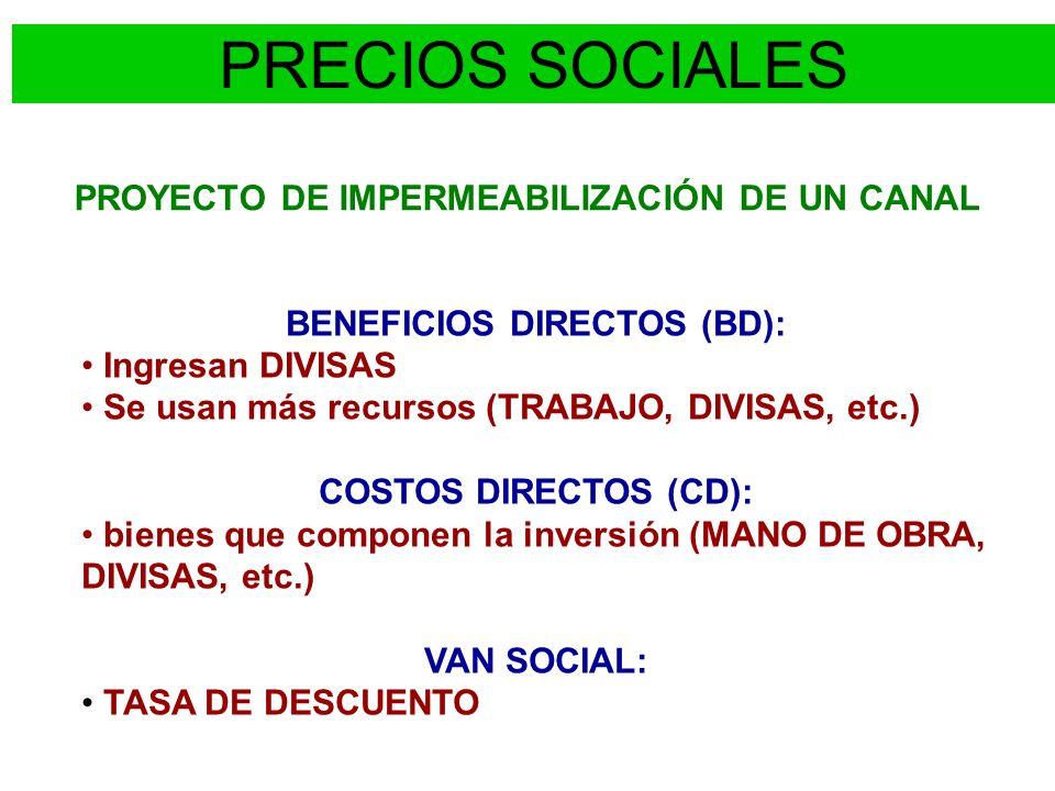 PROYECTO DE IMPERMEABILIZACIÓN DE UN CANAL BENEFICIOS DIRECTOS (BD):