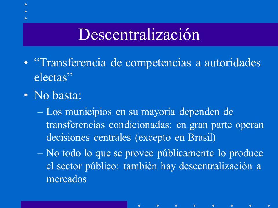 Descentralización Transferencia de competencias a autoridades electas No basta: