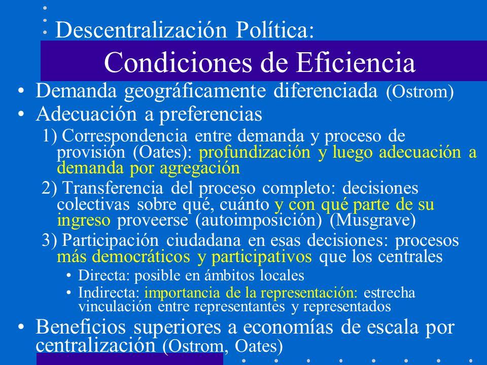 Descentralización Política: Condiciones de Eficiencia