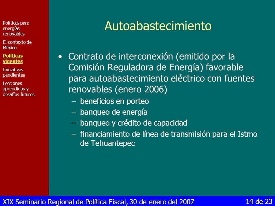 Autoabastecimiento Políticas para energías renovables. El contexto de México. Políticas vigentes.