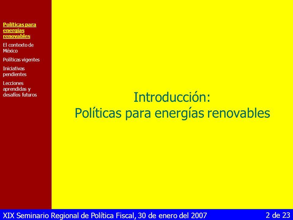 Introducción: Políticas para energías renovables
