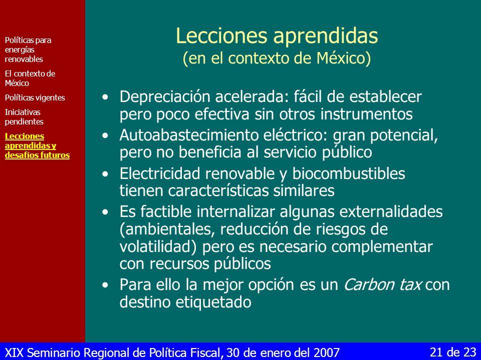 Lecciones aprendidas (en el contexto de México)