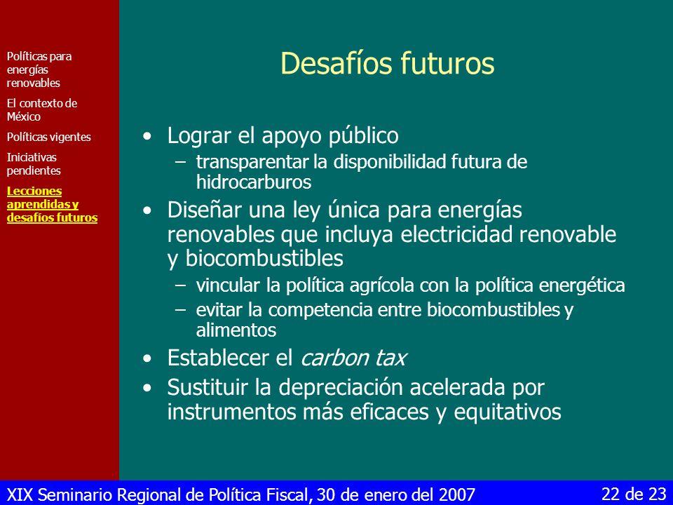 Desafíos futuros Lograr el apoyo público