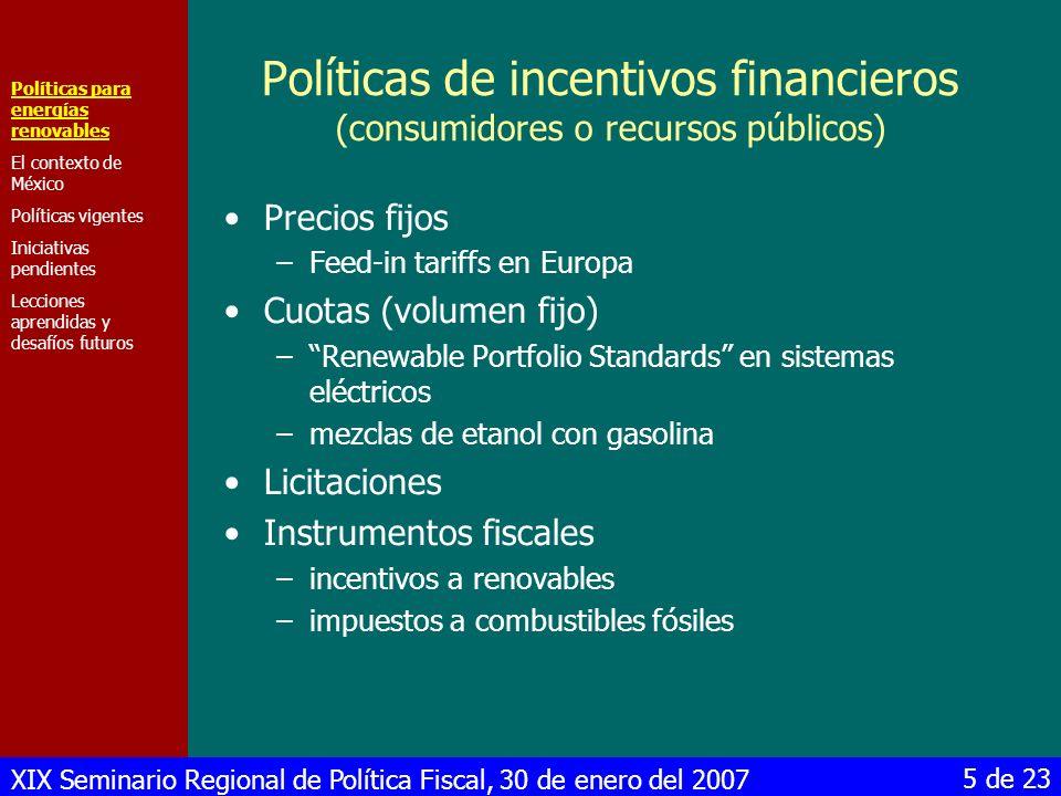 Políticas de incentivos financieros (consumidores o recursos públicos)